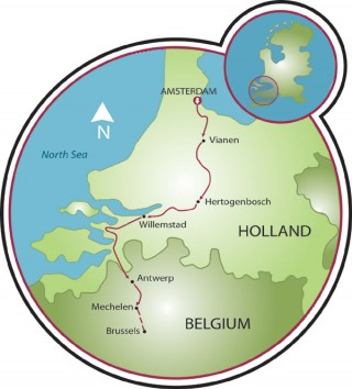 Amsterdam to Brussels Map