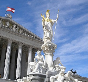 Statue of Athena in front of Austrian Parliament in Vienna. Photo courtesy of Austrian National Tourist Office