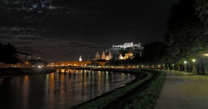Salzburg along Salzach River at night. Photo by Patrick Hickey