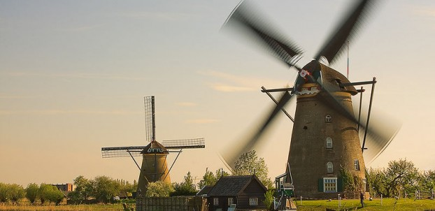 Windmills in Kinderdijk - photo by ESOPhoto via Wikimedia Commons