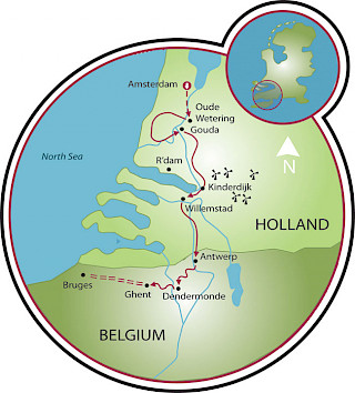 Tulip Tour - Amsterdam to Bruges Map