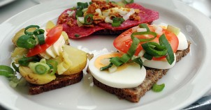 """Smørrebrød"" (open faced sandwiches) are very common in Denmark!"
